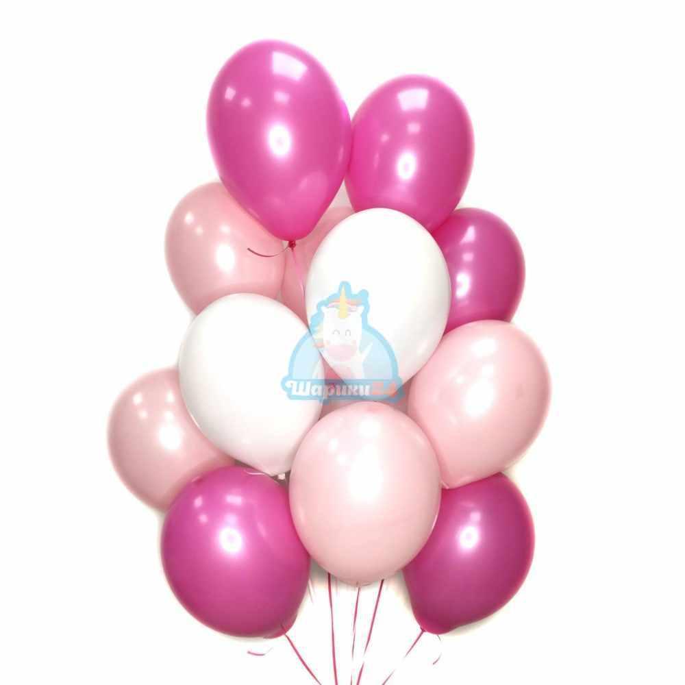 Воздушные белые розовые и фуксия шарики