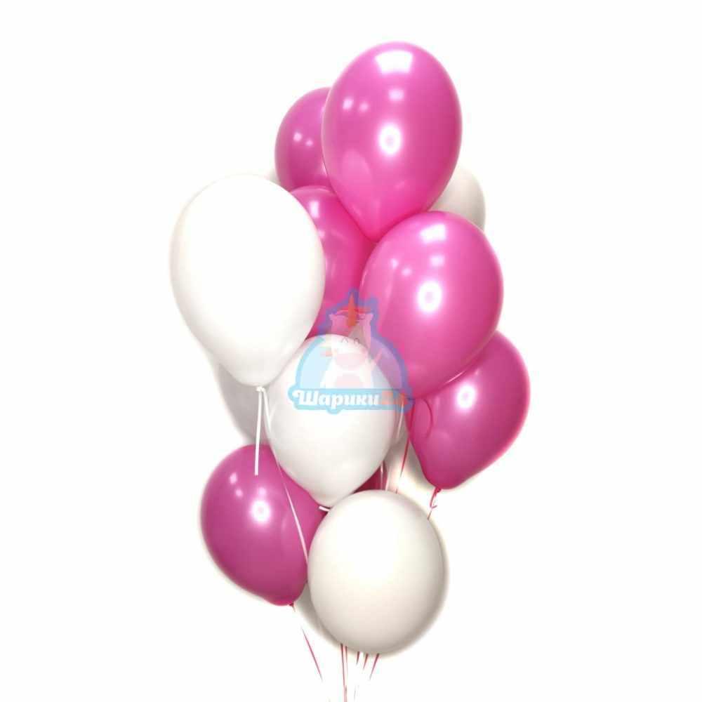 Воздушные шарики белые  и фуксия