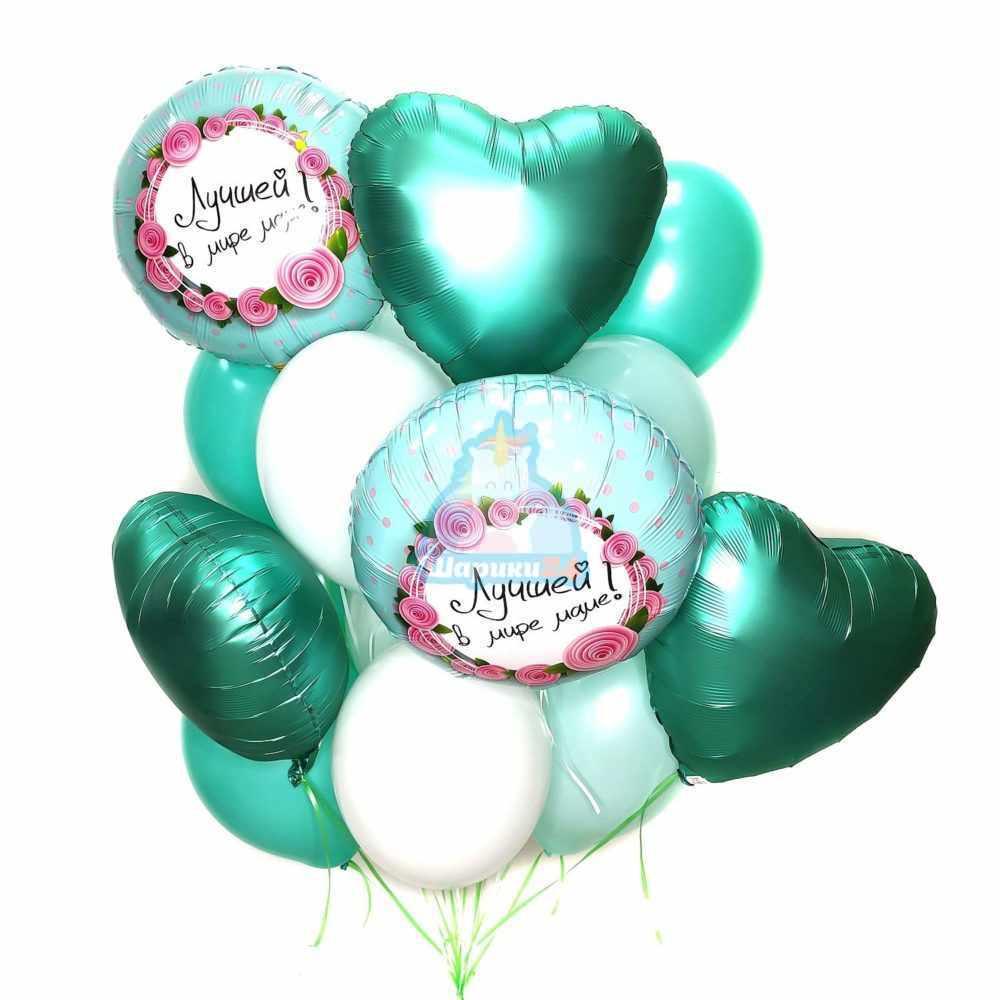 Композиция из белых и мятных шаров с сердцами и кругами на 8 марта