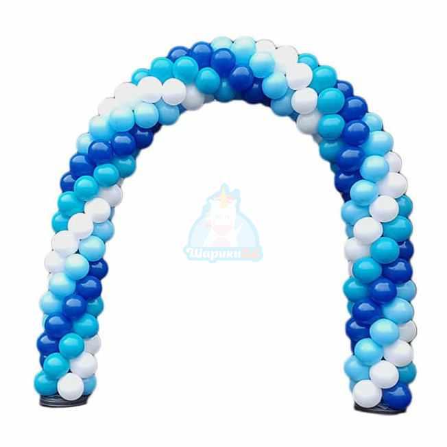 Арка из белых синих и голубых шаров 1 м
