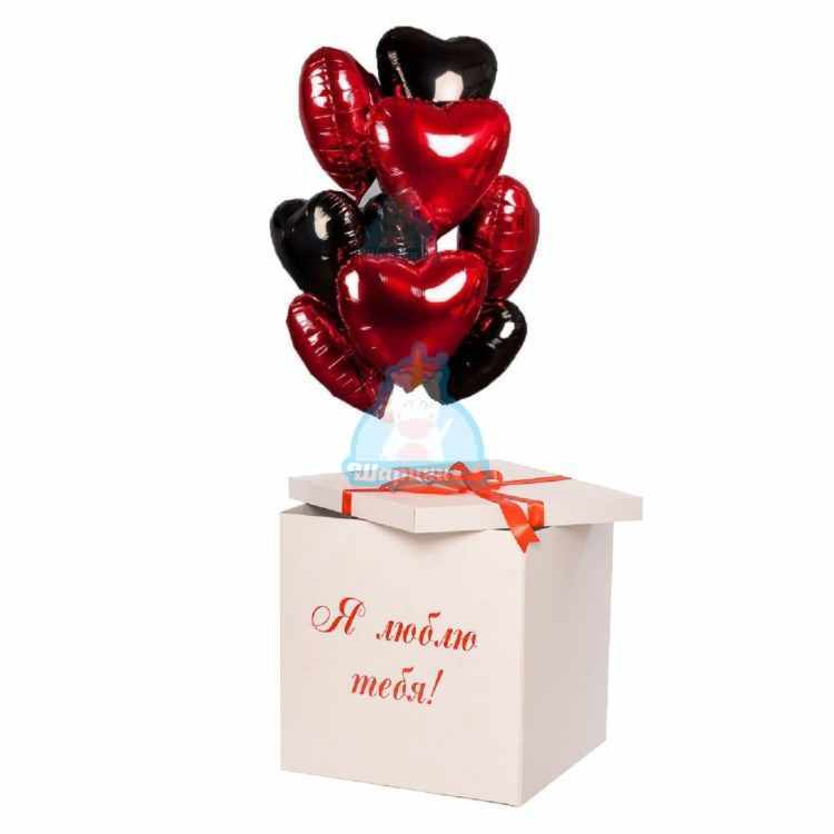 Черные и красные фольгированные сердца в коробке на 14 февраля