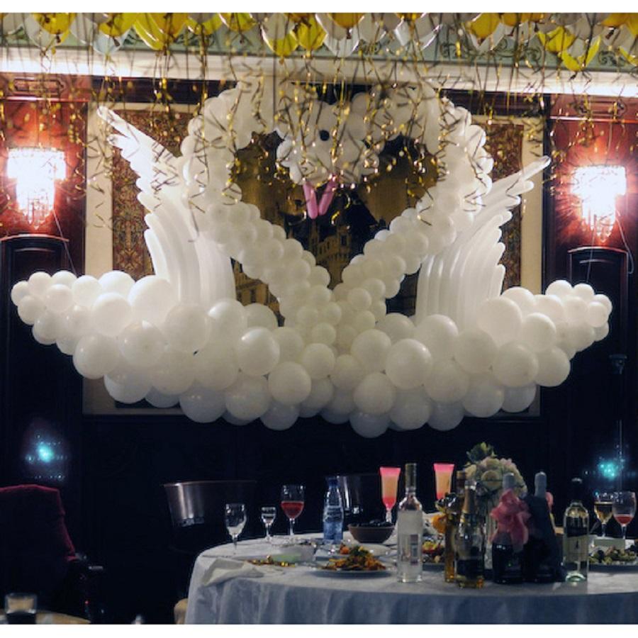 Оформление свадьбы воздушными шарами белые лебеди