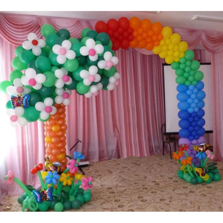 """Оформление детского сада арка из шаров """"Радуга"""""""