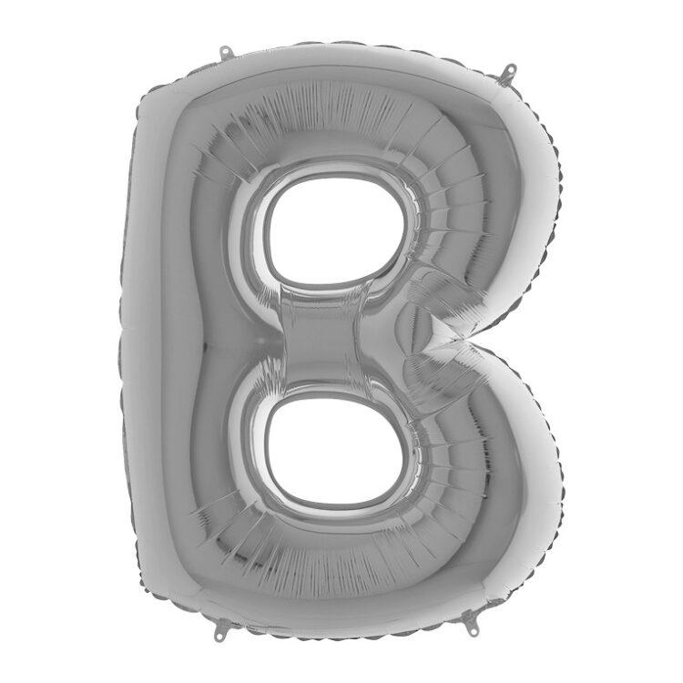 Фольгированная серебряная буква B