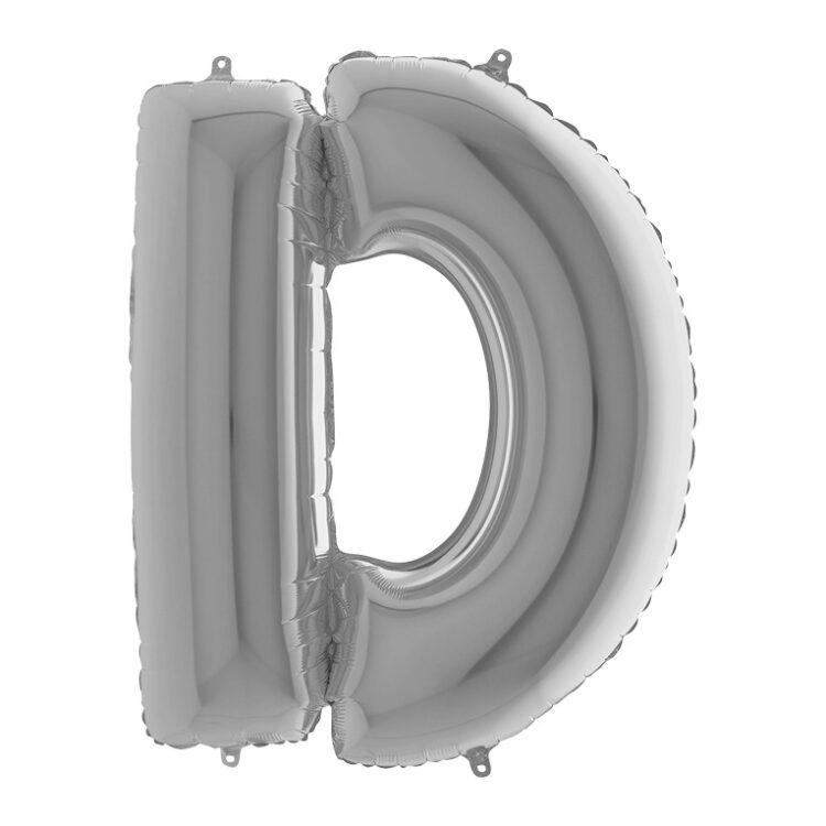 Фольгированная серебряная буква D