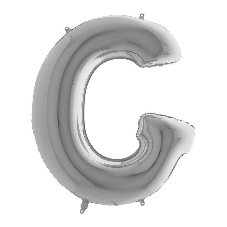 Фольгированная серебряная буква G