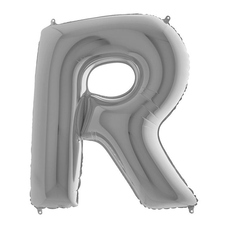 Фольгированная серебряная буква R