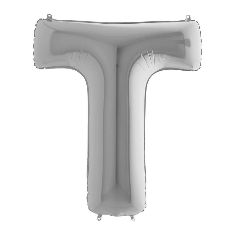 Фольгированная серебряная буква T