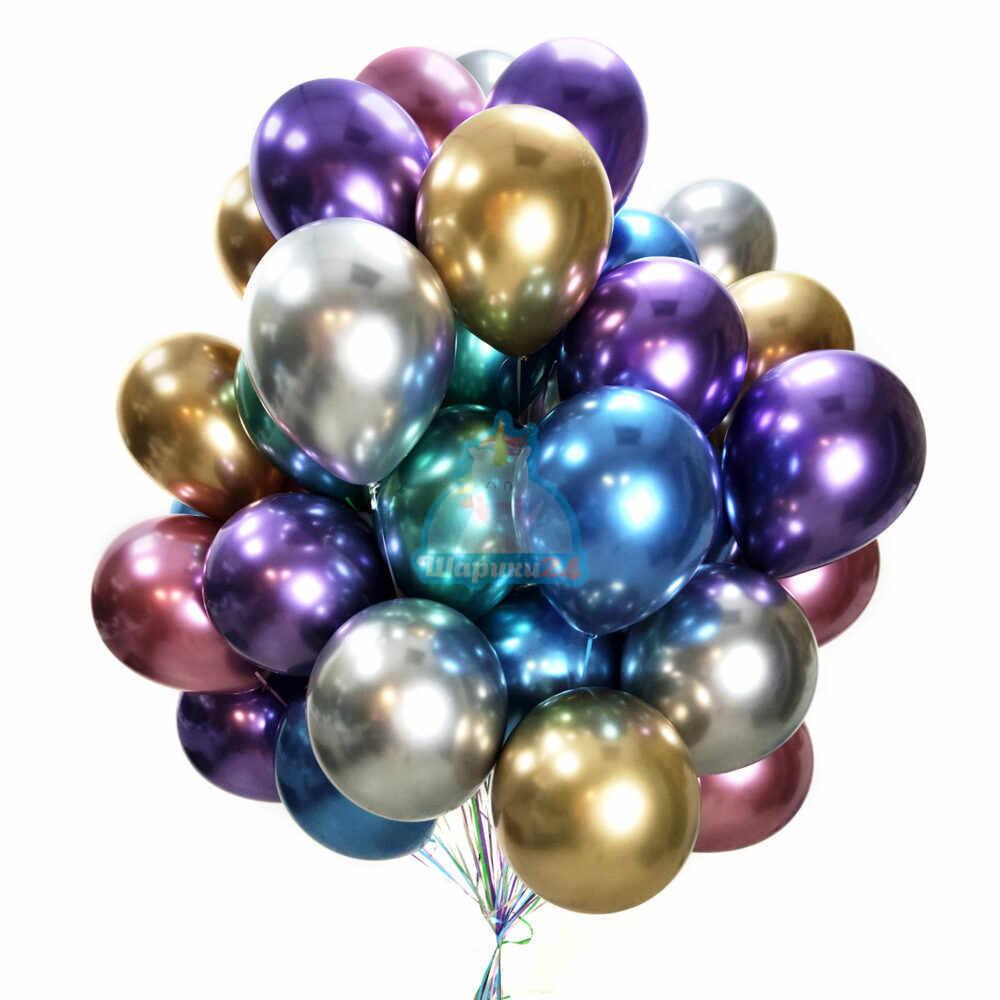 Разноцветные хромированные шарики 50 шт. на 8 марта