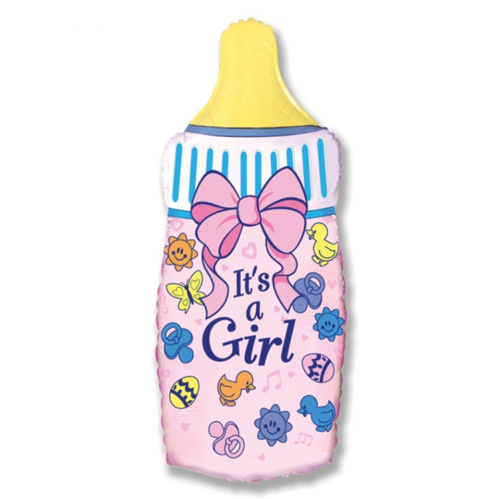 Фольгированная фигура бутылочка розовая