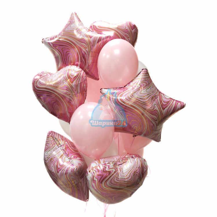 Композиция из бело-розовых шаров с сердцами и звездами агат