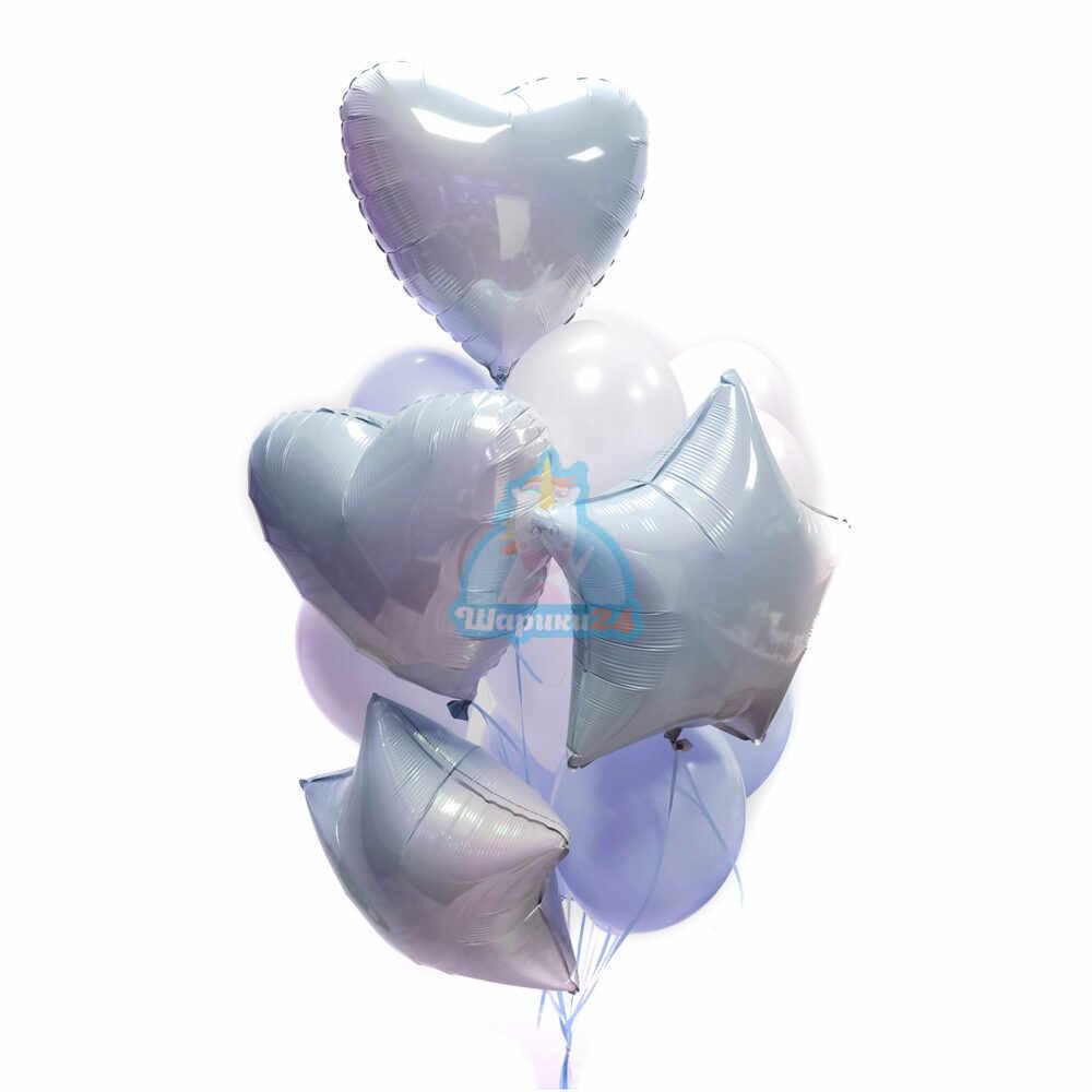 Композиция из бело-голубых шаров с голубыми сердцами градиент