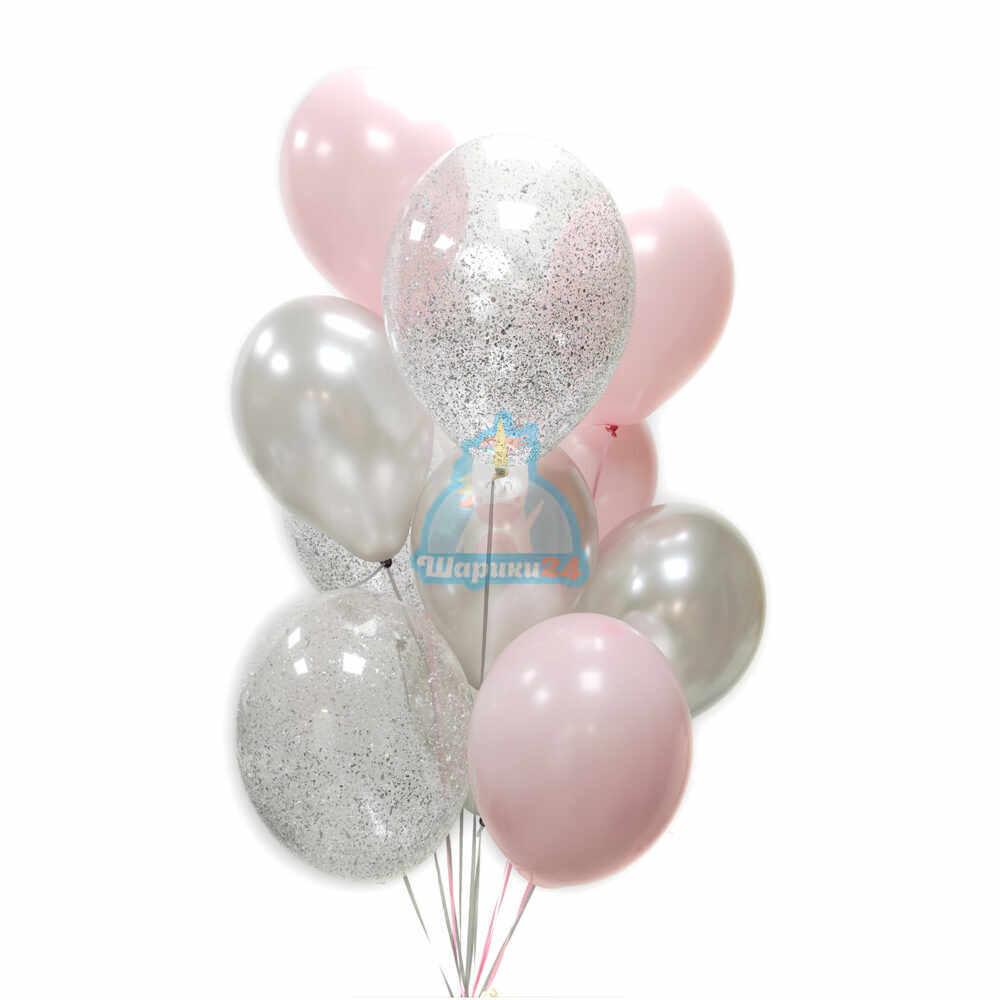 Композиция из серебряных, розовых и прозрачных шаров с серебряными блестками
