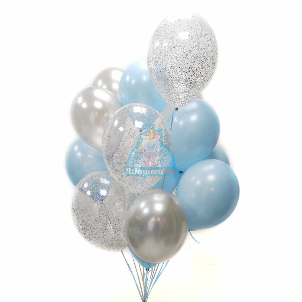 Композиция из серебряных, голубых и прозрачных шаров с серебряными блестками