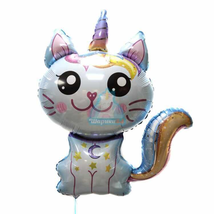 Фольгированная фигура голубой Кот-Единорог