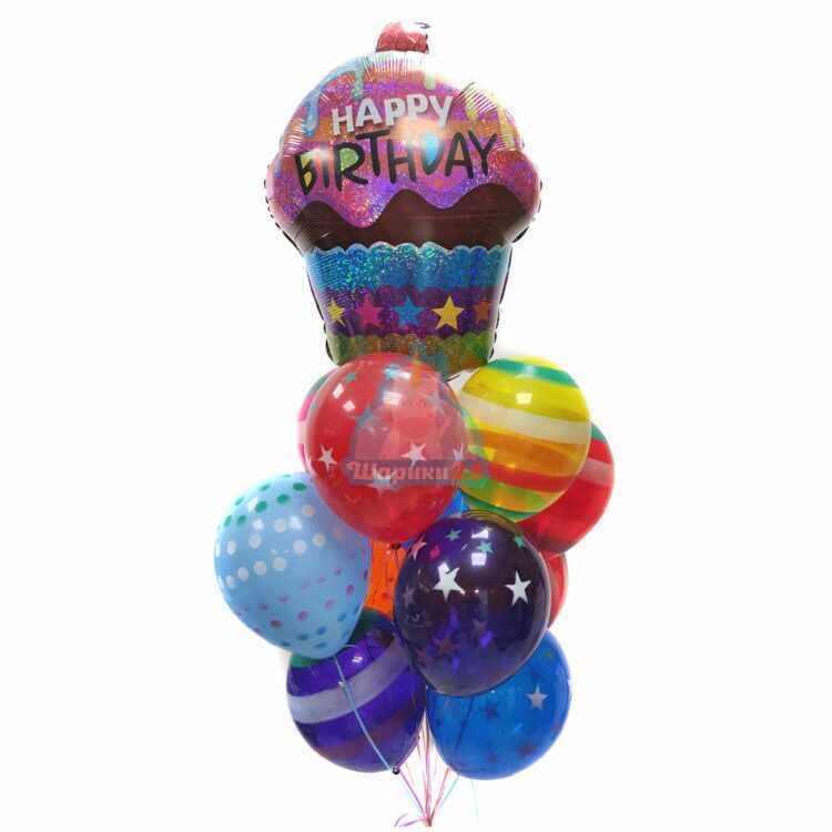 Композиция из шаров серпантин с фольгированным кексом Happy Birthday