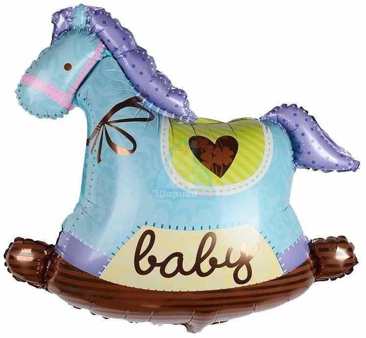 Фольгированная фигура лошадка качалка голубая