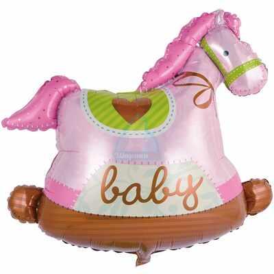 Фольгированная фигура лошадка качалка розовая
