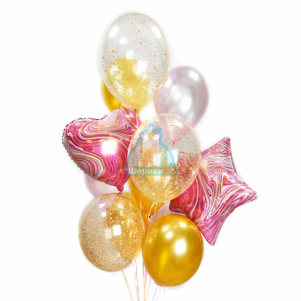 Композиция из розовых золотых и прозрачных с блестками шаров с сердцем и звездой
