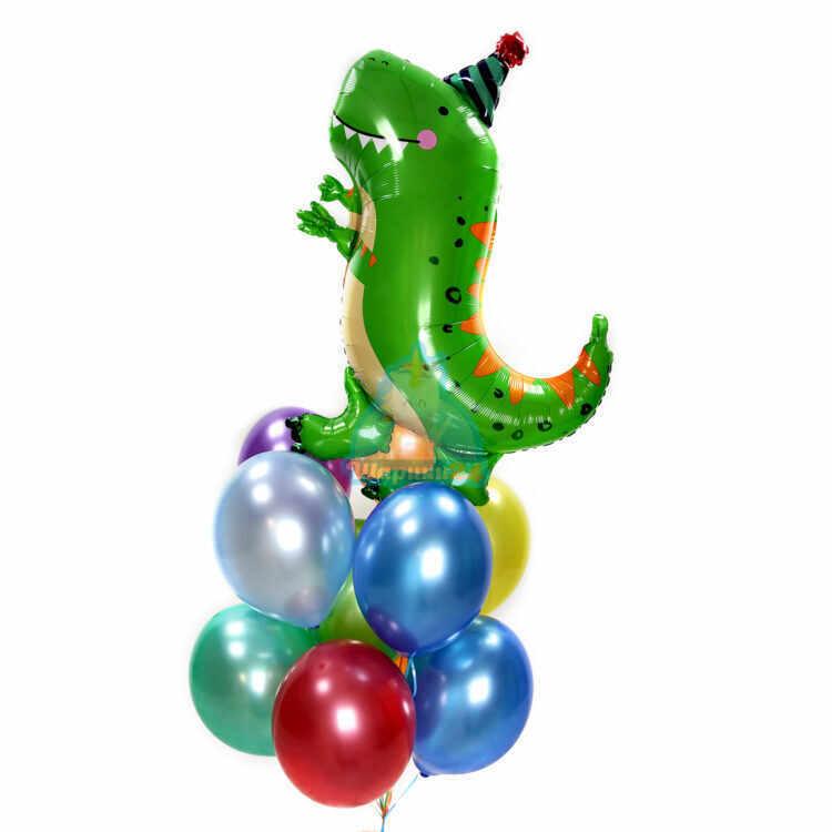 Композиция из разноцветных шариков металлик с динозавром