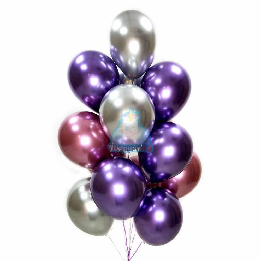 Облако розовых, фиолетовых и серебряных хромированных шариков на 8 марта