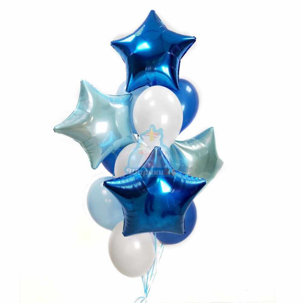 Композиция из белых голубых и синих шаров со звездами