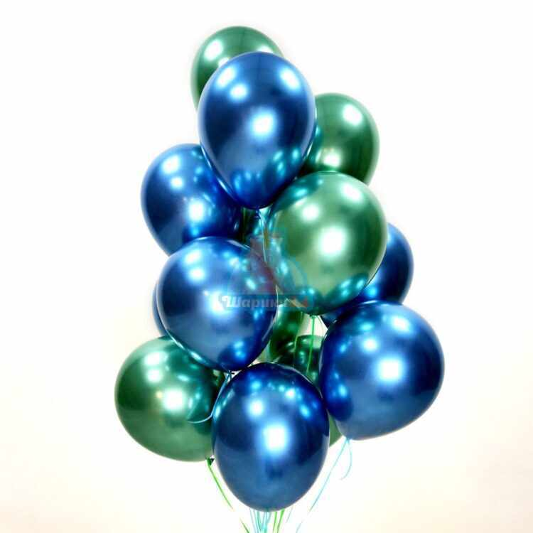Шары под потолок хромированные синие и зеленые