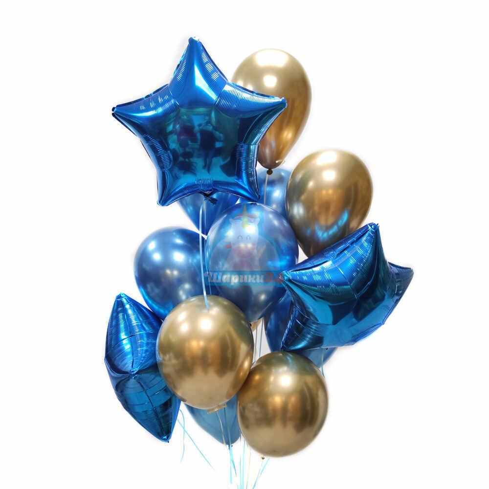 Композиция из синих и золотых хромированных шаров с синими звездами