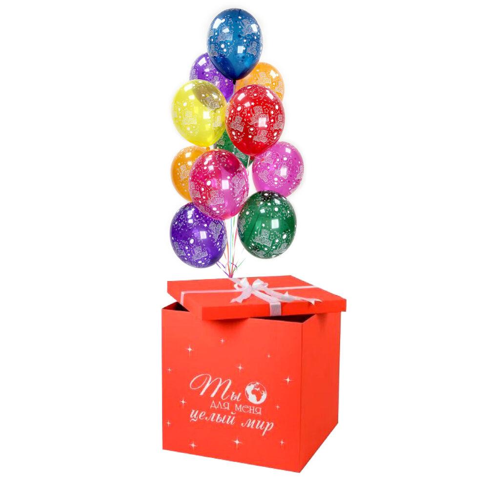 Композиция бело-розовых шаров для девочки в белой коробке