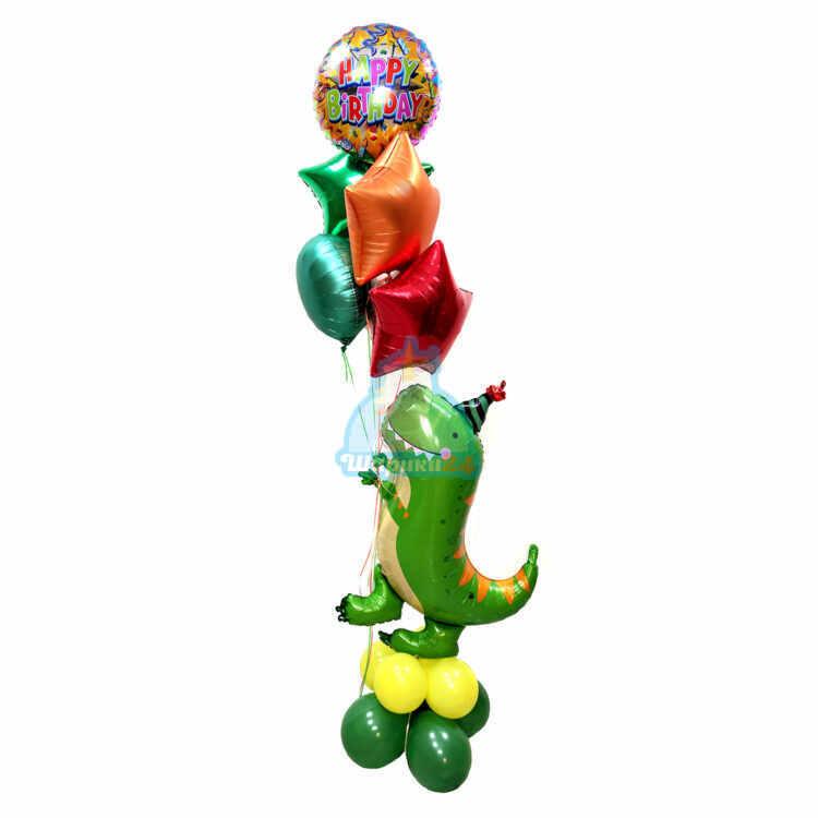 Композиция из разноцветных шаров с динозавром на день рождения!