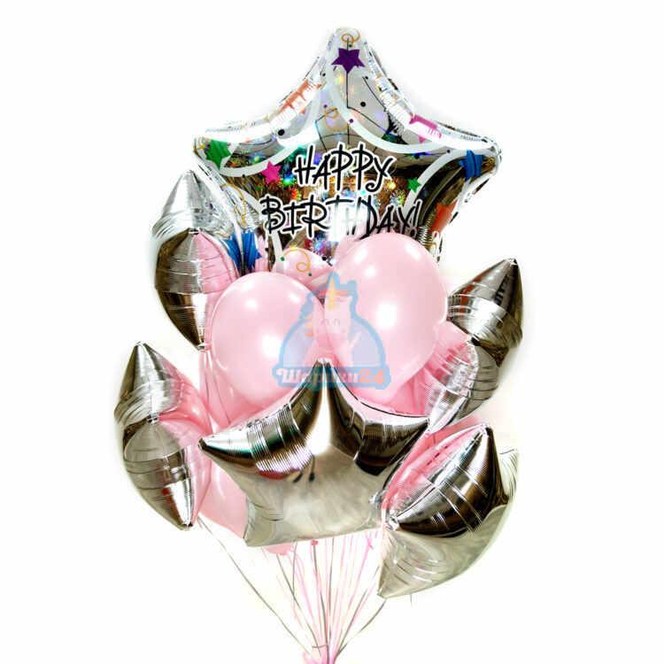 Композиция из гелиевых розовых шаров на день рождения со звездами и большой звездой Happy Birthday!