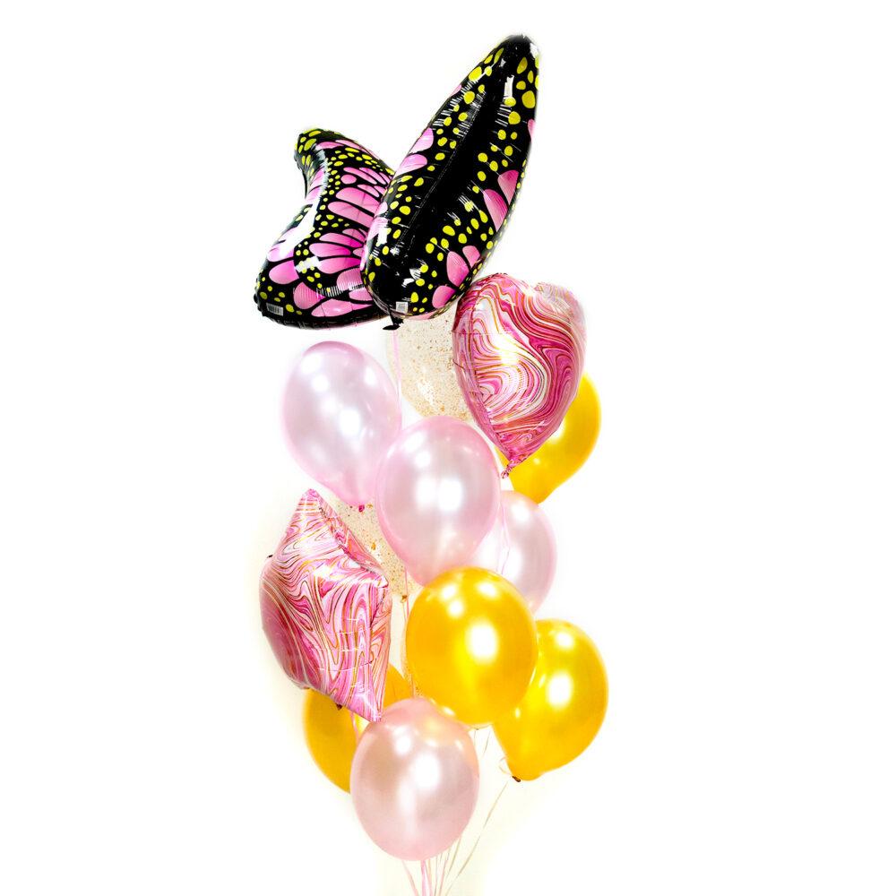 Композиция из розовых и золотых шаров с бабочкой