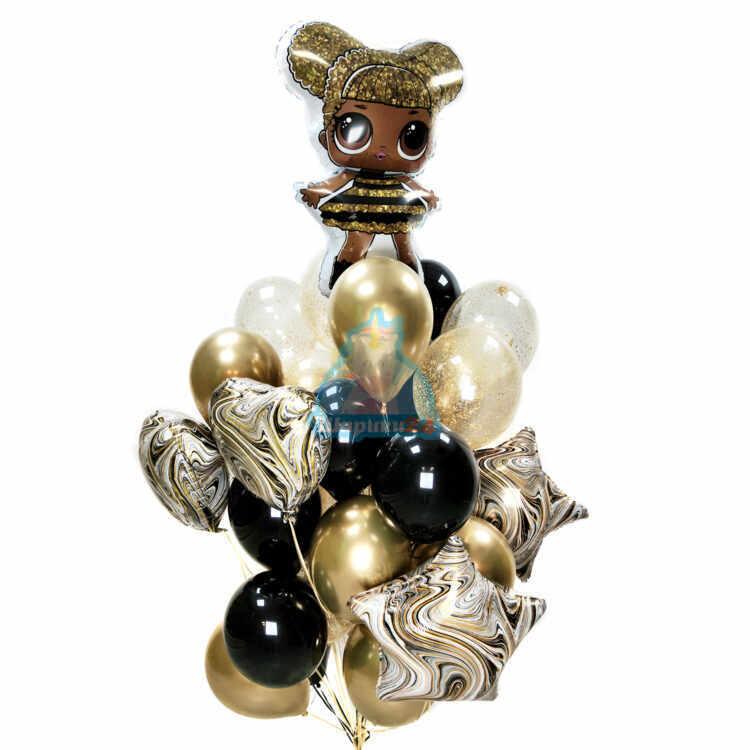 Композиция из черных, золотых хромированных шаров с сердцами и звездами агатами с куклой LOL