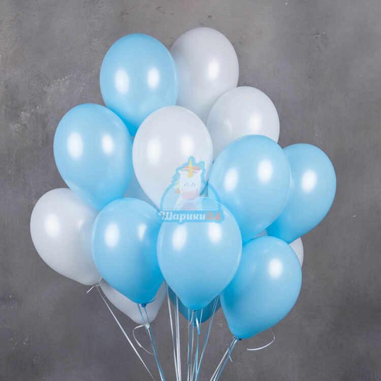 Бело-голубые воздушные шарики