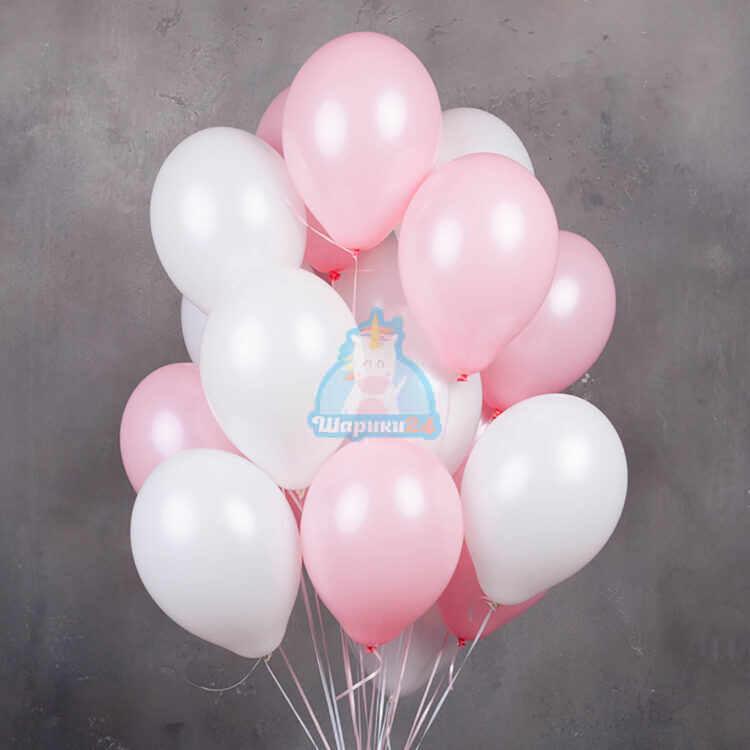 Бело-розовые воздушные шарики