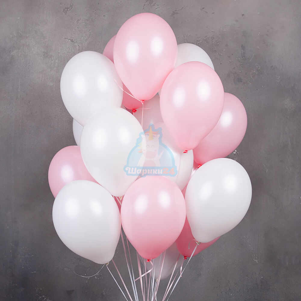 Гелиевые шары бело-розовые