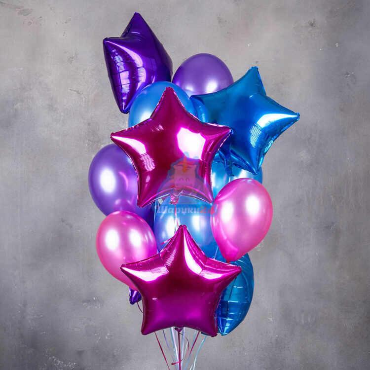 Композиция розовых, синих и фиолетовых шаров металлик со звездами