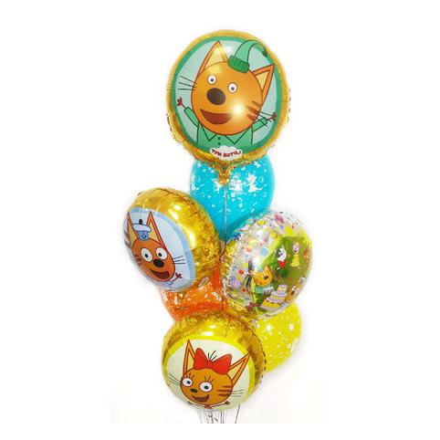 Композиция из разноцветных шаров Три Кота