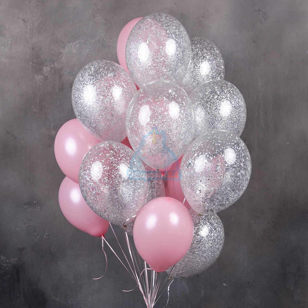 Розовые и прозрачные шарики с серебряными блестками