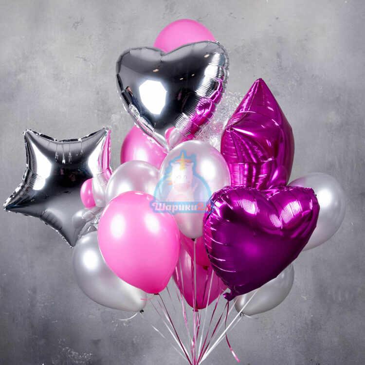 Композиция розовых и серебряных шаров с сердцами и звездами