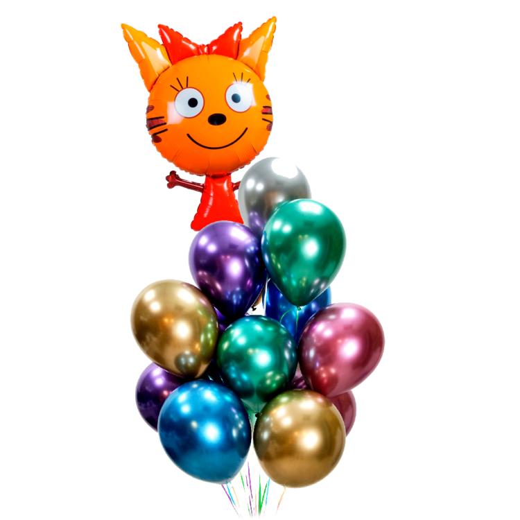 Композиция из разноцветных хромированных шаров с Карамелькой Три Кота