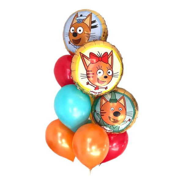 Композиция Три кота с красными оранжевыми и мятными шарами