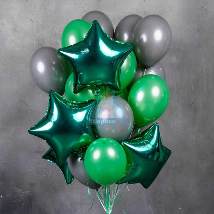 Композиция из серых и зеленых шаров со звездами