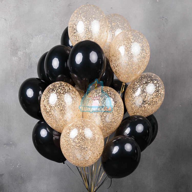 Черные и прозрачные шарики с золотыми блестками