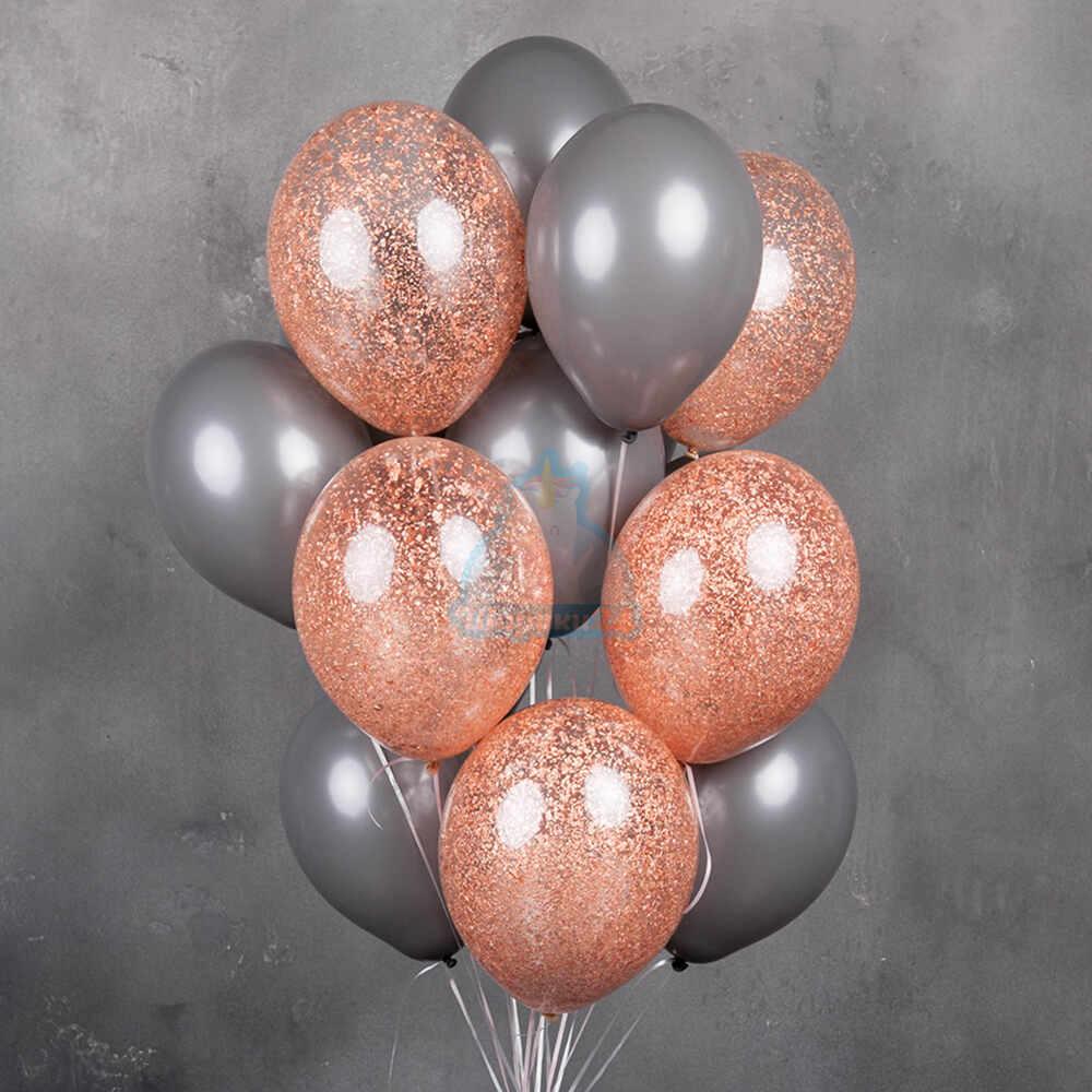 Серые и прозрачные шарики с блестками розовое золото