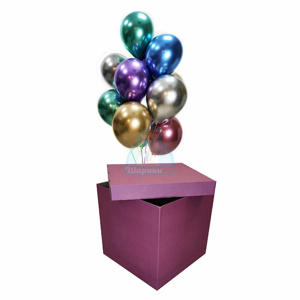 Разноцветные хромированные шарики в фиолетовой коробке