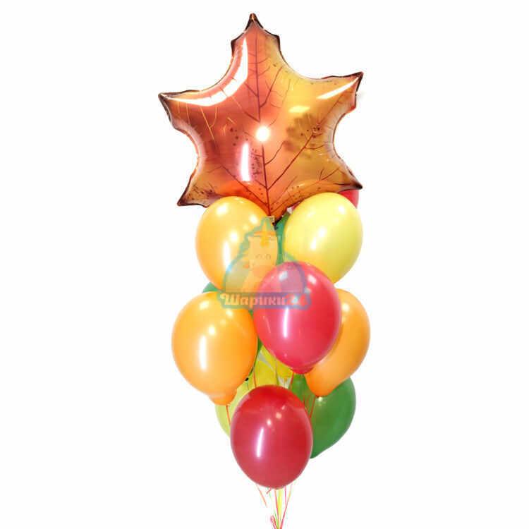 Композиция из шариков осенних цветов с листом