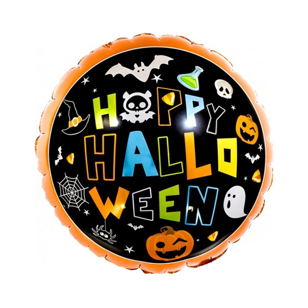 Фольгированный шар Happy Halloween с тыквами и приведениями