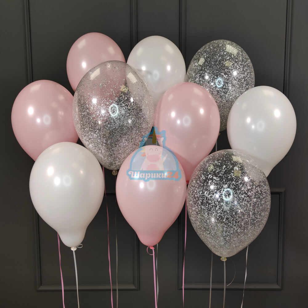 Гелиевые шары бело-розовые и прозрачные с серебряными блёстками