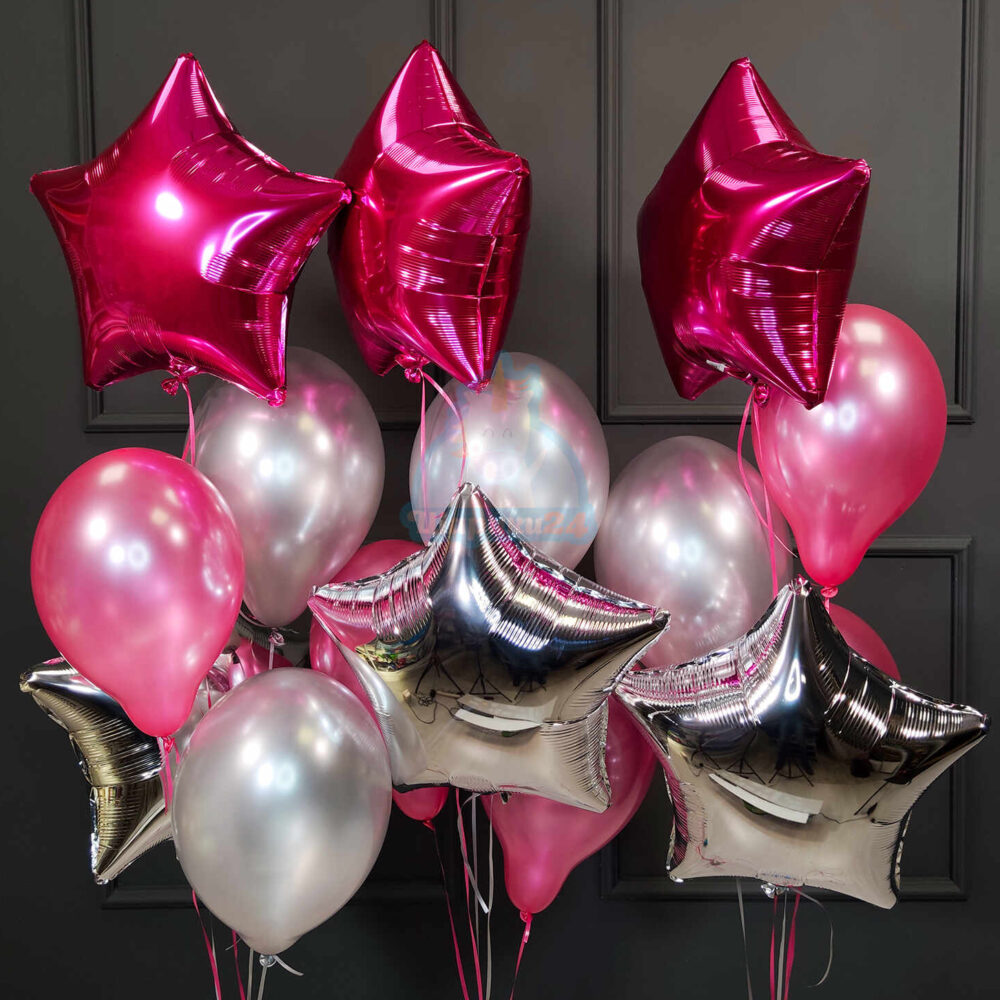 Композиция из серебряных и розовых шаров с гелием со звездами на 8 марта